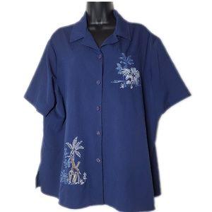 Nikki Plus Size Button Up with Safari Embroidery